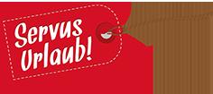 Servus Urlaub-Firmenlogo in Form eines Kofferanhängers, weiße Schrift auf rotem Hintergrund
