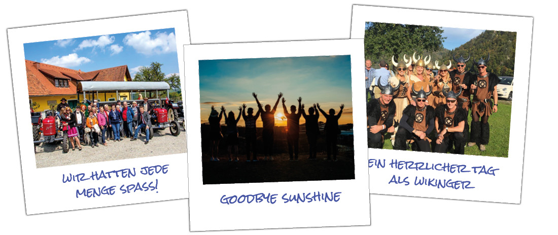 3 Polaroid-Bilder von Team-Events mit verschiedenen Personen