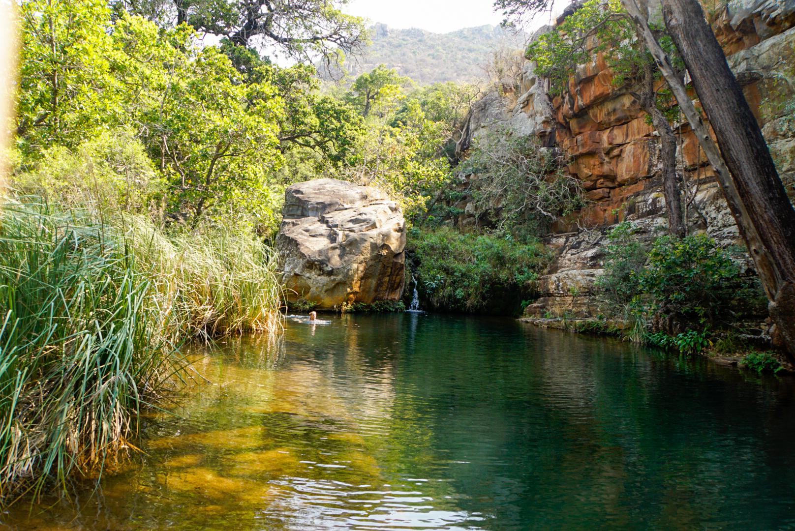 Eine Lagune am Fluss des Blyde Canyon